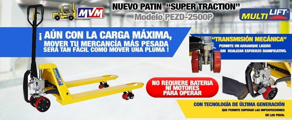 Patín hidráulico Super Traction modelo PEZD 2500P