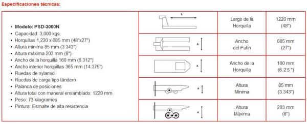 Especificaciones tecnias de Patin hidraulico PSD 3000N